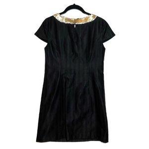 Tibi Dresses - Tibi Sequin Bow Cocktail Dress Black Gold